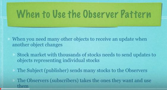 Observer pattern - when